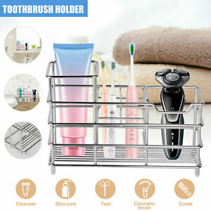Toothbrush Toothpaste Holder Stand Wall Mounted Stainless Steel Bathroom Storage