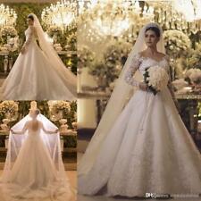 Luxus Perle Kristall Spitze Schiere Zurück Brautkleider Hochzeitskleider Neu