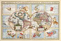 1600's Astrology Interesting Old World Map - 24x36