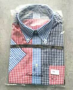 Brooks Brothers Red, Blue & White Squares Short Sleeve Shirt Size M No 16