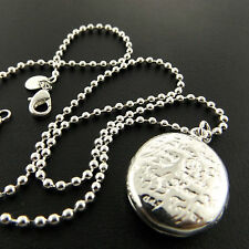 A876 GENUINE REAL 925 STERLING SILVER S/F ANTIQUE LOCKET PENDANT NECKLACE CHAIN