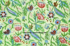 Indiano 100% Cotone Voile Tessuto Verde Cucito Mano Blocco Stampa Craft 4.6m