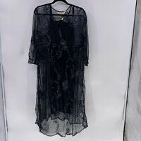 Sheryl Crow Embroidered beaded Mesh Dress sz L NWT Black