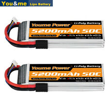 2pcs 11.1V 5200mAh 3S LiPo Battery 50C TRX for Traxxas RC Car Truck Buggy Drone