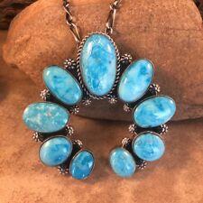 Native American Navajo Sleeping Beauty Turquoise & Sterling Silver Naja Pendant