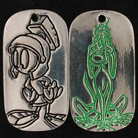 CHARM MARVIN THE MARTIAN K9 TWO SIDED DOG TAG LOONEY TUNES SHINY SILVER 4168 A