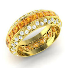 3.50 Ct Natural Diamond Citrine Eternity Band 14K Yellow Gold Ring Size L M N O