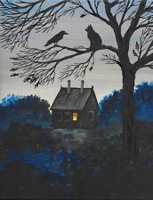 5x7 PRINT OF PAINTING RYTA CROW BLACK CAT HALLOWEEN FOLK ART GOTHIC HAUNTED DARK