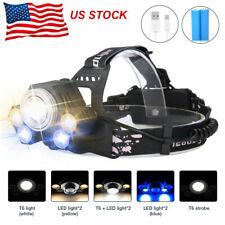 900000LUMENS 5X T6 LED Headlamp Rechargeable Head Light Flashlight Torch Lamp US