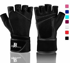 Weight Lifting Gloves W/ Wrist Wrap Rowing Biking Training Grip Gloves Med Black