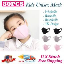 10/20/30PCS KIDS Washable Reusable Mix Colors Face Mask Mouth Nose Protective