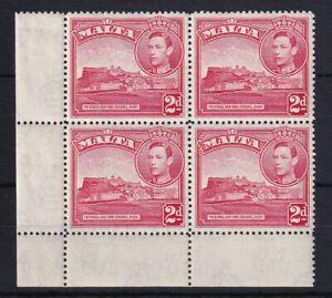 MALTA 1943 2d Scarlet SG221b Corner Block (LMM in Margin) MNH