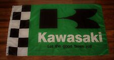 Kawasaki Racing Team Checkered Flag Green Banner Motorcycle MotoGP Biker Ninja