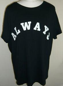 Next Black Pyjama Top Size 16/18 Always Dreaming Logo 100% Cotton Short Sleeved