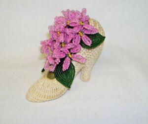 Vintage Decorative Crochet High Heel Shoe with Pink Bead Flowers