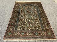 Feiner Perser/Orient Teppich Ghom Seide auf Seide Floral 163 x 108 Top Neuwertig
