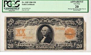 1906 $20 ⭐ GOLD CERTIFICATE ⭐ Large Horse Blanket FR-1185 Parker / Burke