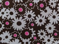 VINTAGE 1960's DAISY BROWN PINK WHITE FLORAL FLOWER POWER COTTON FABRIC