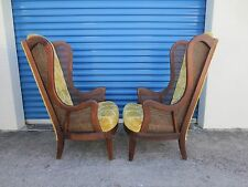 RARE Tall PAIR Wingback Chairs CANE Narrow Regency French 2 Ears Library Parlor