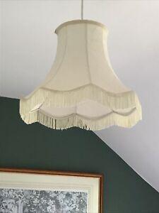 Large Vintage Cream Bell Lamp Lampshade Tassels Fringe Scallop 28cm High