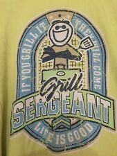 """Life is Good Men  t-shirts  XL Short Sleeve Color Green """"Grill Sergeant"""" Cotton"""