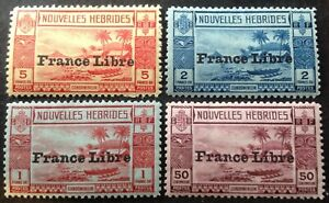 New Hebrides 1925 4 x France Libre stamps mint hinged