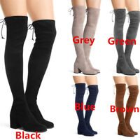 Women Fashion Sexy Over Knee High Boots Mid Block Heel Slim Suede Stretch Boots