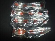 """NEW OLD STOCK!! (4) S. KIRK & SON REPOUSSE STERLING SILVER 5 7/8"""" TEASPOONS"""