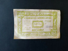 BILLETE LOCAL 50 CTS CONSEJO MUNICIPAL DE ALCAÑIZ TERUEL,1937