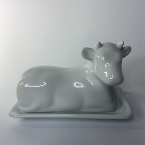 Pier 1 Imports Cow Shaped Covered Porcelain Lidded Butter Dish