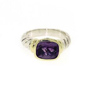 David Yurman Sterling Silver/14K Yellow Gold Amethyst Ring Size 6.75