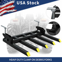 "42"" Clamp On Debris Forks Tractor Skid Steer Loader Attachment Heavy Duty Steel"