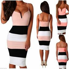 V-Neck Party Striped Sleeveless Dresses for Women