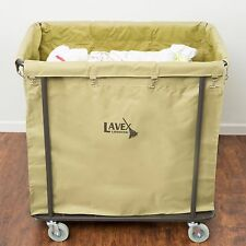 Lavex Lodging 14 Bushel Metal Frame Laundry Trash Cart Canvas Bag Commercial