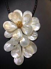 White Sea Shell Flower Lariat Pendant Necklace
