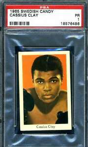 Cassius Clay PSA 1 1965 Swedish Candy Rookie Muhammad Ali