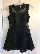 New Black Shimmer TOPSHOP Lace Skater Dress Premium Structured A Line US 2 G60