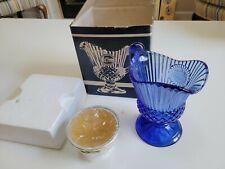 Vintage Avon The Mount Vernon Sauce Pitcher / Fostoria Cobalt Blue Candle Holder