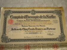 Vintage share certificate Stock Bonds  comptoir D'Escompté De La Sarthe le mans