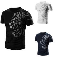 Mens Summer Fashion Printing Men's O-Neck Pullover Short-sleeved T-shirt M-XXXXL