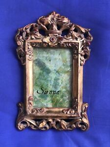 """4.5 x 3"""" Vertical Table Picture Photo Frame Gold Ornate Rococo Style Sienna"""