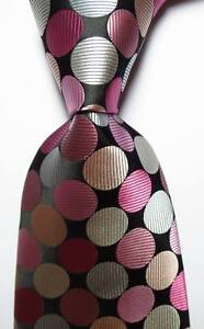 New Classic Dot Black Pink White JACQUARD WOVEN 100% Silk Men's Tie Necktie