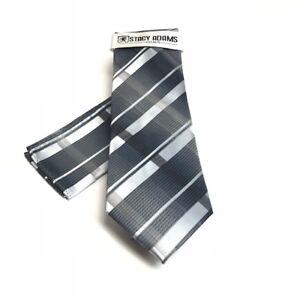 Stacy Adams Men's Tie Hanky Set Charcoal Silver Black Microfiber Hand Made