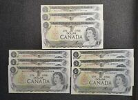 1973 Canada Crow Bouey BC-46b $1.00 Banknote Lot 3 Consecutive Sets Of 3
