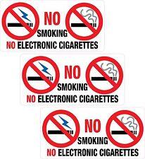 3 X No Smoking ou électronique Autocollant Imprimé Vinyle étiquette magasin bureau PUB Taxi
