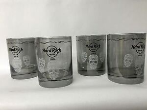 HARD ROCK HOTEL WHISKEY GLASSES SET OF 4 PRINTED SKULLS SMOKEY COLOR NEW