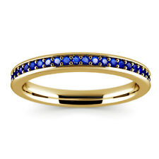 Solid 14K Yellow Gold Eternity Rings 0.50Ct Blue Sapphire Band Genuine Gemstone