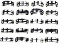 12PCS Wholesale Bulk Lot Men Stainless Steel Black Rubber Rings Jewelry HOT