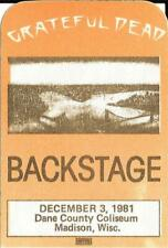 Grateful Dead Back Stage Pass Dane County Coliseum  Madison Wisconsin 1981