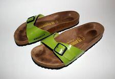 Birkenstock Leather Sandals Buckle Green Madrid Cork UK 3 Eur 36 Mules Slides
